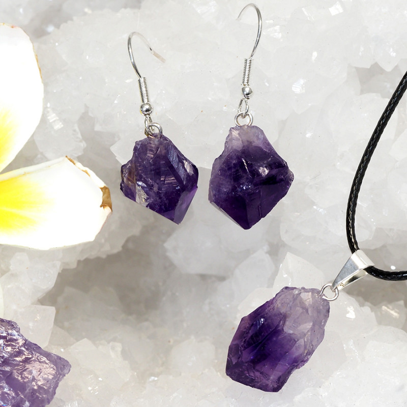Raw Amethyst Points Pendant and Earring Pack - BRAMP - Set 12