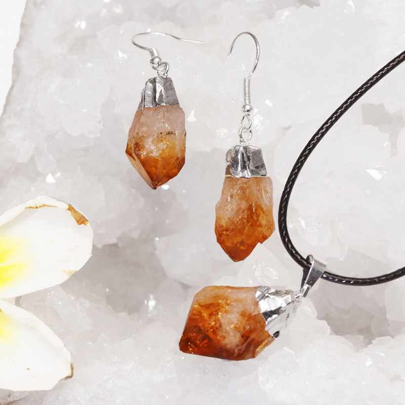 Raw Citrine Electroform Points Pendant and Earring Pack - BRECIT - Set 6