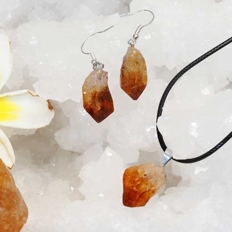 Raw Citrine Points Pendant and Earring Pack - BRACIT - Set 12