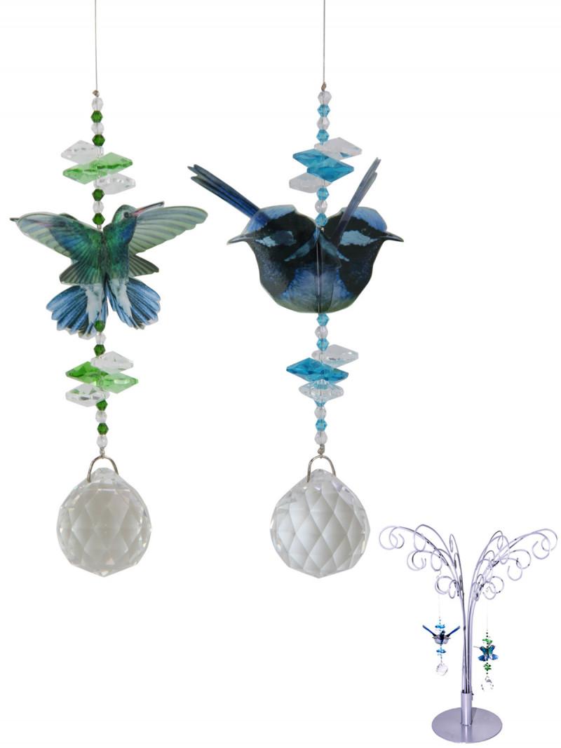 Blue/Green Blue Wren & Humingbird Crystal Display 6pcs  Code BBSCJ
