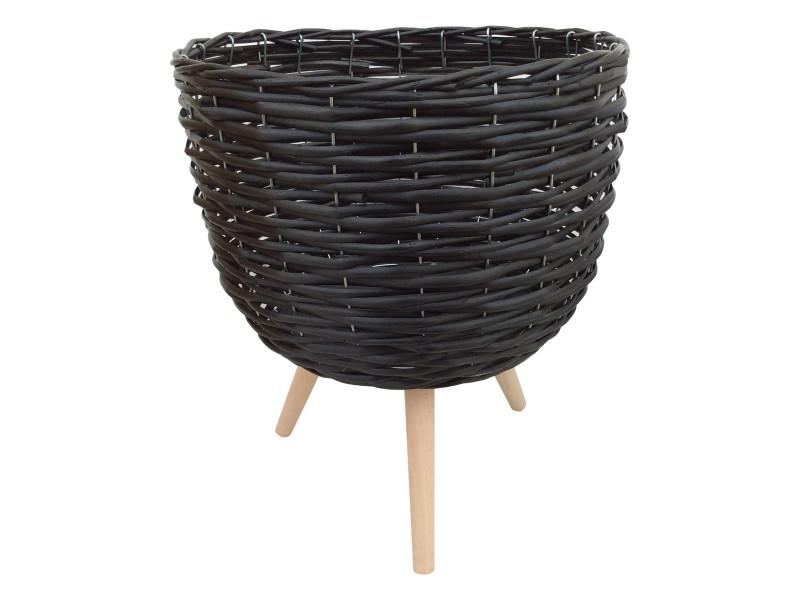 33x40cm Black Wicker Pot Holder  Code WICBIGBL