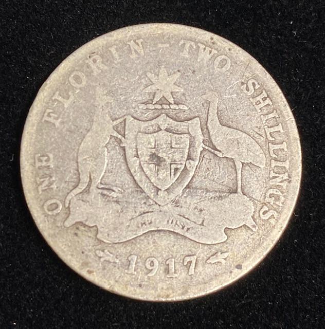 One Australian Florin 1917 .925 Silver  code CP 710