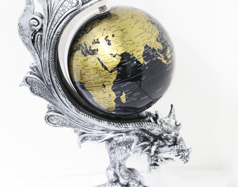 Silver Dragon Spiner world  Globe  Code DRAGSGLO