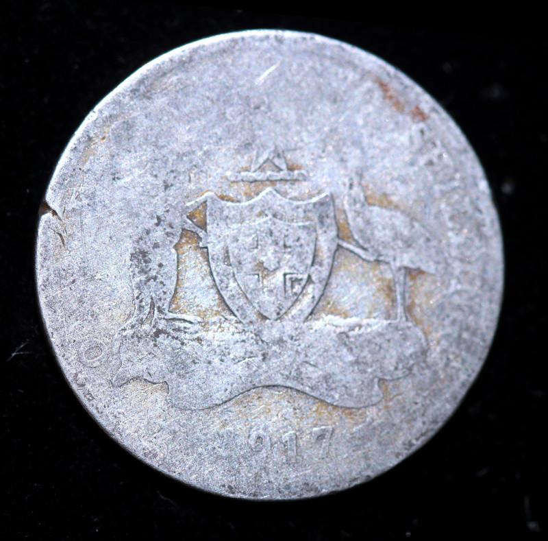 One Worn Australian Florin 1917 .925 Silver  code CCC988