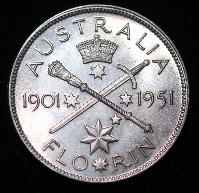 One Fair Australian Florin 1951 post war  .500 silver CCC996