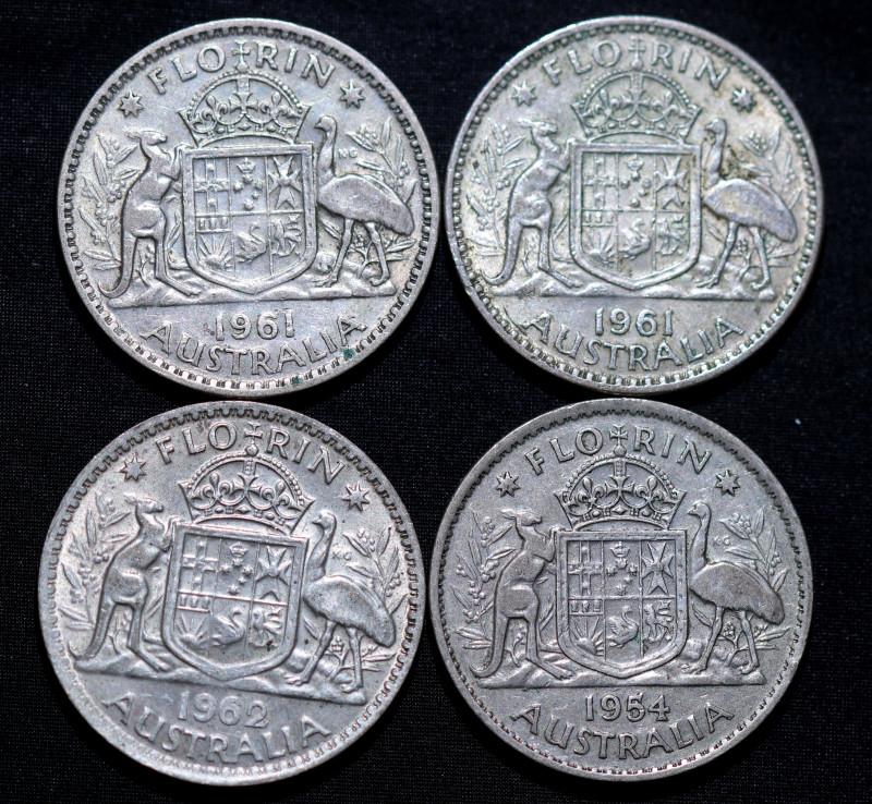 One   Australian Florin 19609 post war  .500 silver Cc 1010