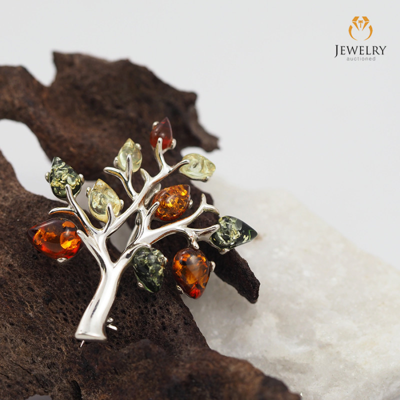 Amber - Tree of Life - Silver Brooch RN 116
