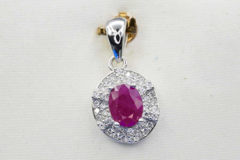 Heated Natural Ruby and 925 Silver Pendant, Elegant Design  CH 810