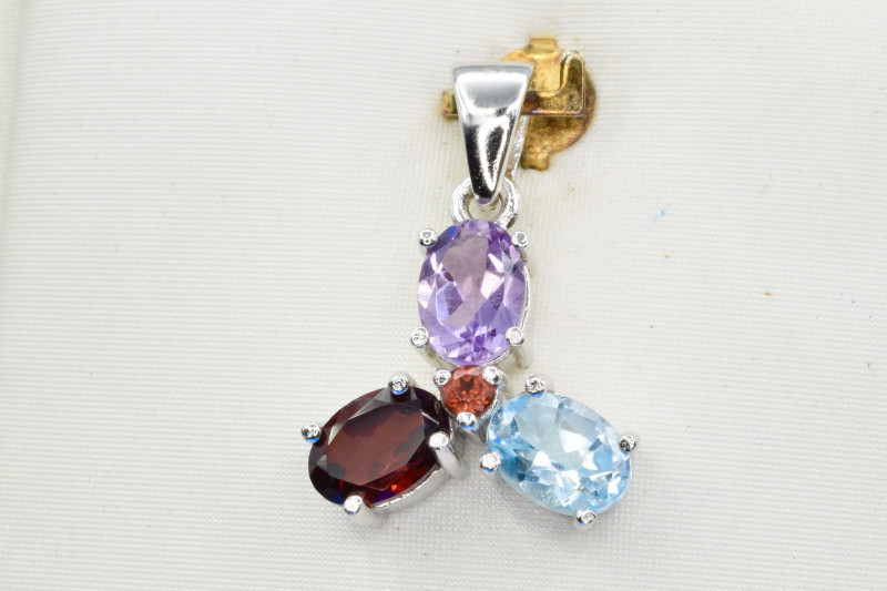 Natural Topaz, Amethyst, Rhodolite and 925 Silver Pendant CH 816