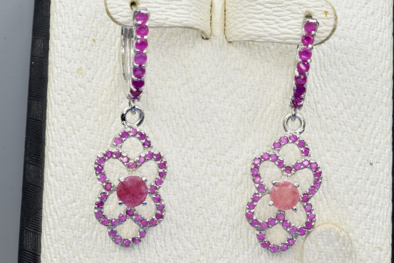 Natural Ruby, and 925 Silver Earring  CH 817