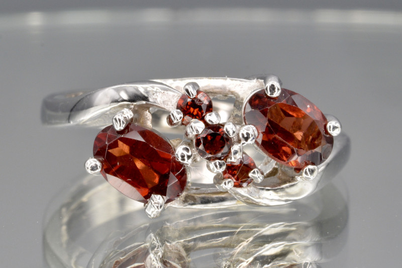 Natural Rhodolite and 925 Silver Ring  CH 823