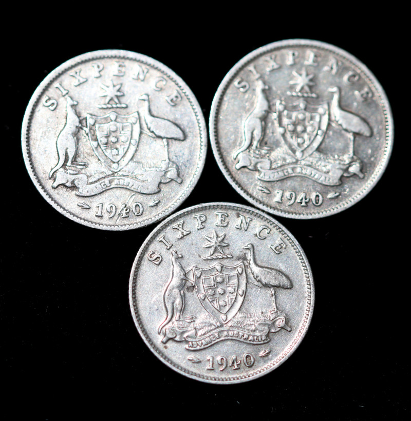 ONE Australian Sixpence 1940  .925 silver  ONE  only CC 1023