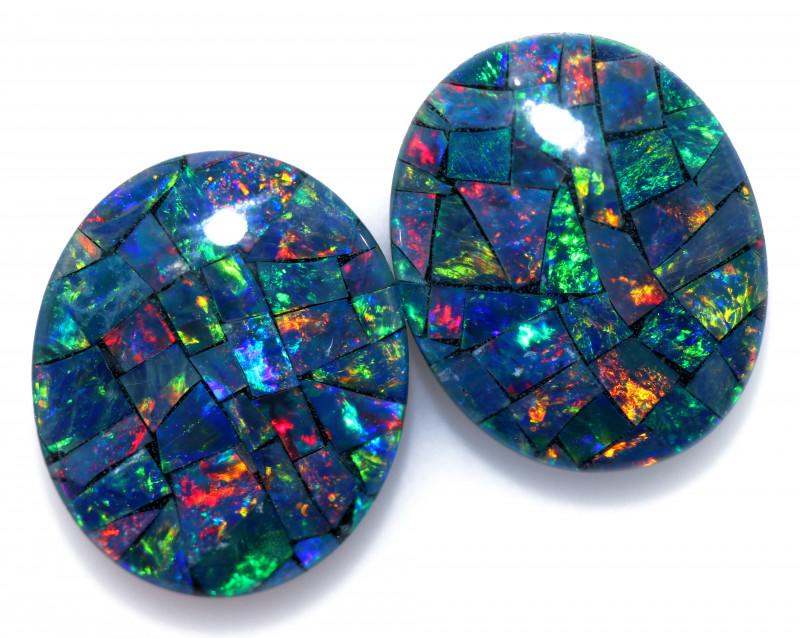 6.2 cts Australian Opal  Mosaic Triplets Pair FO 1539
