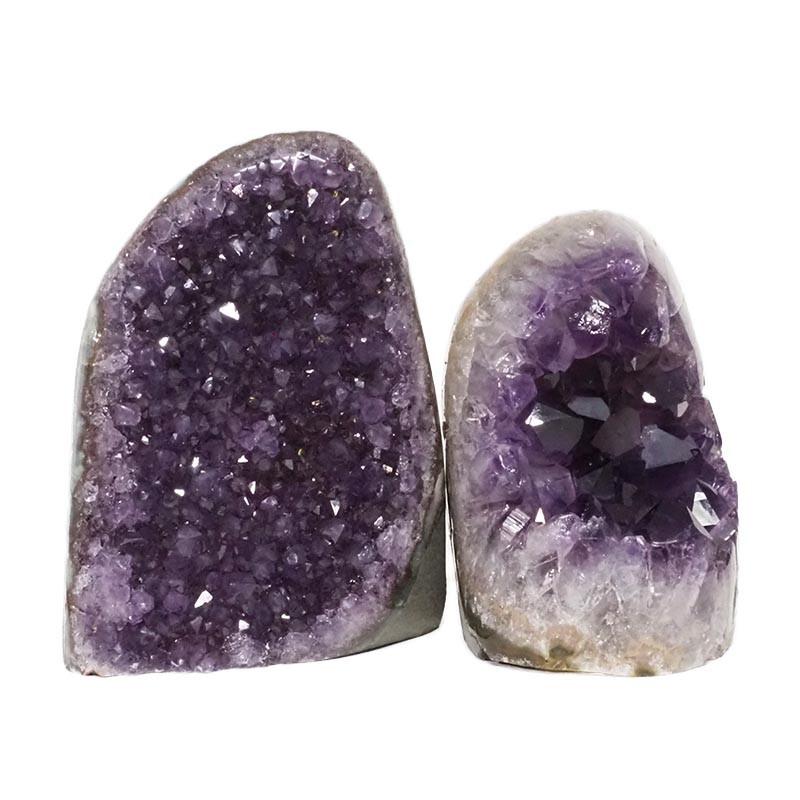 2.56kg Amethyst Polished Crystal Geode Specimen Set 2 Pieces DN152