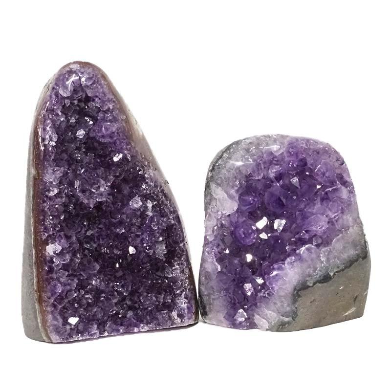 2.34kg Amethyst Polished Crystal Geode Specimen Set 2 Pieces DN153