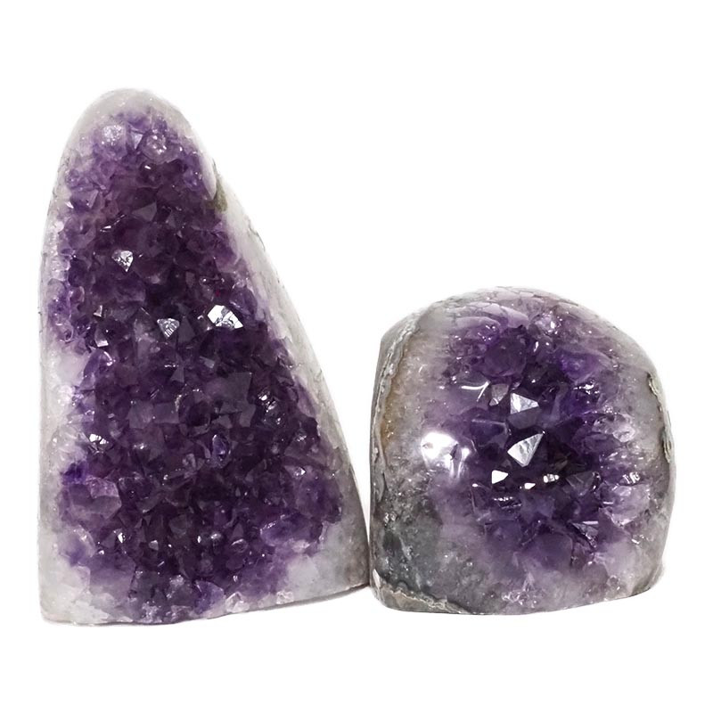 2.22kg Amethyst Polished Crystal Geode Specimen Set 2 Pieces DN154
