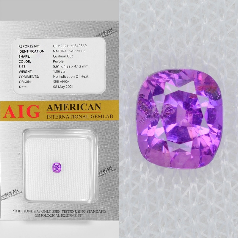 Purple Sapphire 1.06 Cts AIG Certified Unheated Natural Gemstone