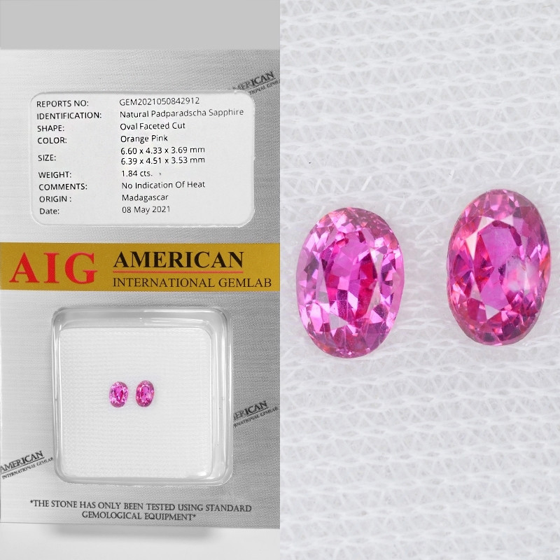 Padparadscha Sapphire 1.84 Cts AIG Certified Orange Pink Natural Pair Gemst