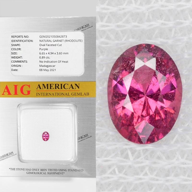Rhodolite Garnet 0.89 Cts AIG Certified Natural Purple Color Gemstone
