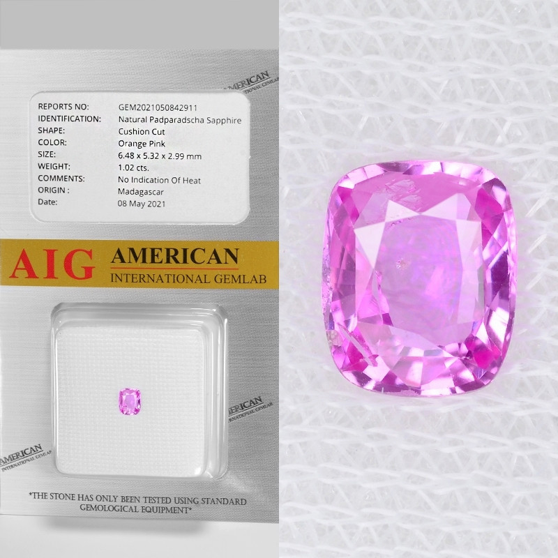 Padparadscha Sapphire 1.02 Cts AIG Certified Orange Pink Natural Gemstone