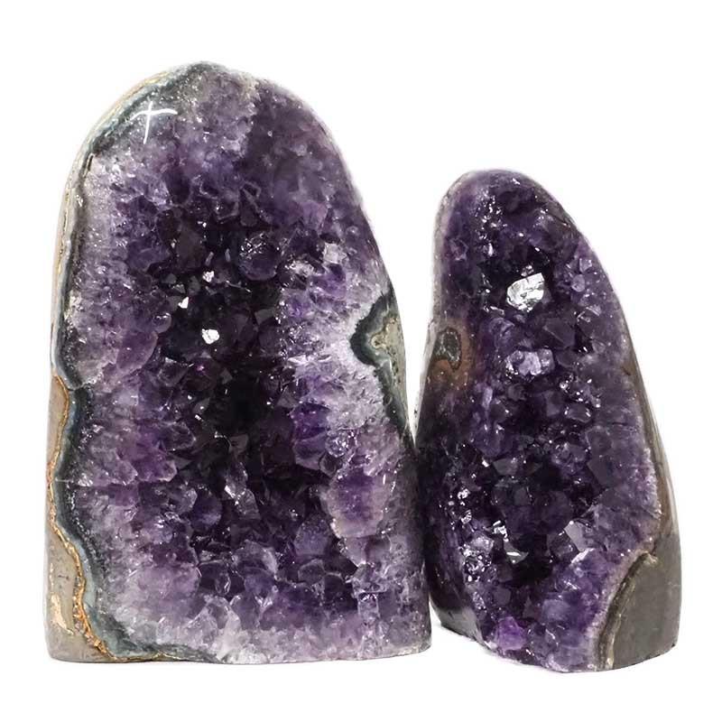 1.99kg Amethyst Polished Crystal Geode Specimen Set 2 Pieces DN156