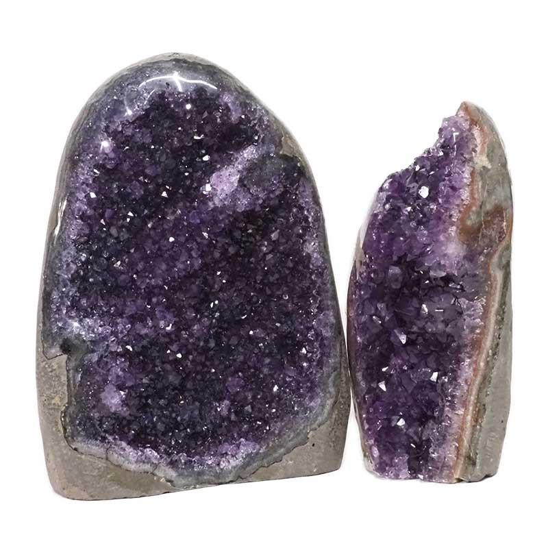 2.64kg Amethyst Polished Crystal Geode Specimen Set 2 Pieces DN159