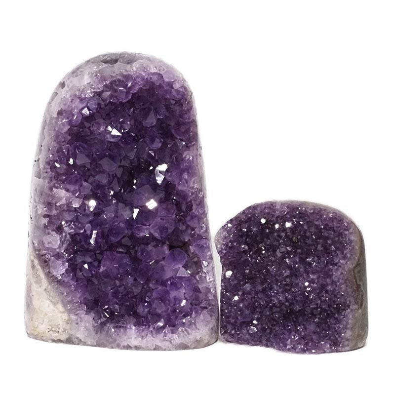 2.52kg Amethyst Polished Crystal Geode Specimen Set 2 Pieces DN161