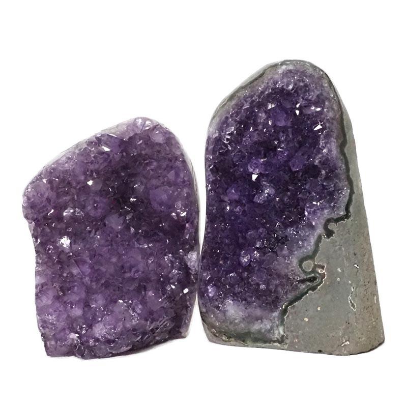 2.26kg Amethyst Polished Crystal Geode Specimen Set 2 Pieces DN164
