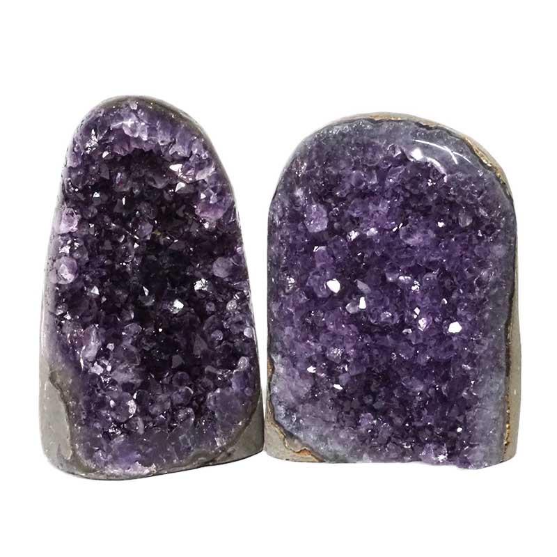 2.52kg Amethyst Polished Crystal Geode Specimen Set 2 Pieces DN166