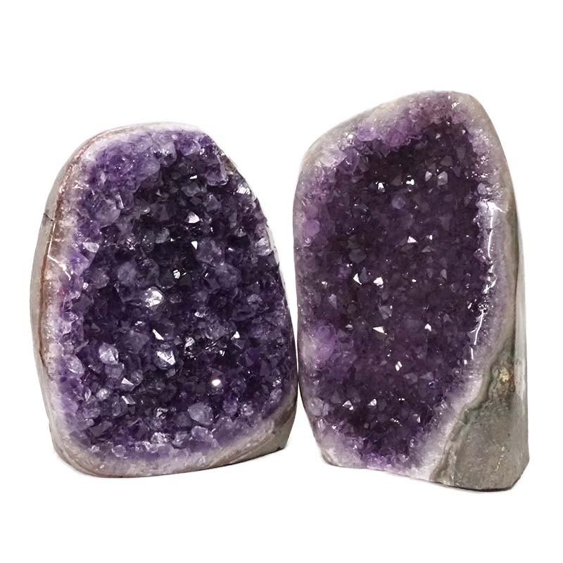 2.58kg Amethyst Polished Crystal Geode Specimen Set 2 Pieces DN167