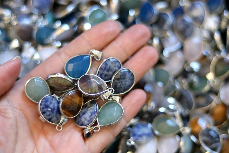 Wholesale 10 pcs popular Faceted Gemstone Pendants G/P  AHA 801