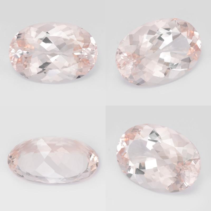 Morganite 18.74 Cts IGI Certified Light Pinkish Orange Natural Gemstone