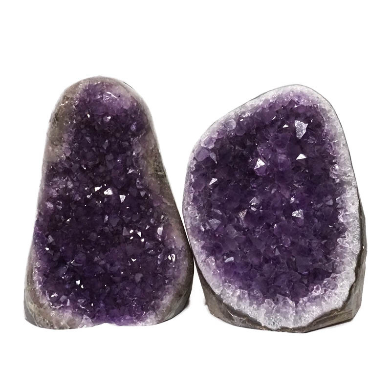 2.27kg Amethyst Polished Crystal Geode Specimen Set 2 Pieces DN168