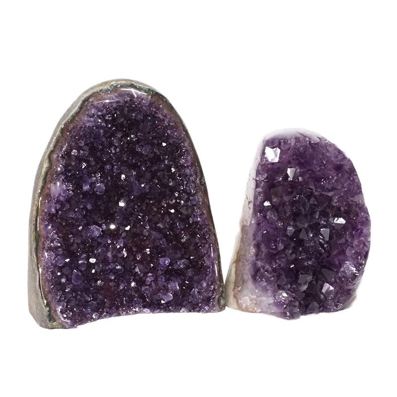 2.38kg Amethyst Polished Crystal Geode Specimen Set 2 Pieces DN169
