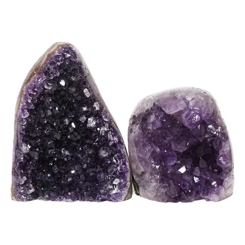2.70kg Amethyst Polished Crystal Geode Specimen Set 2 Pieces DN172