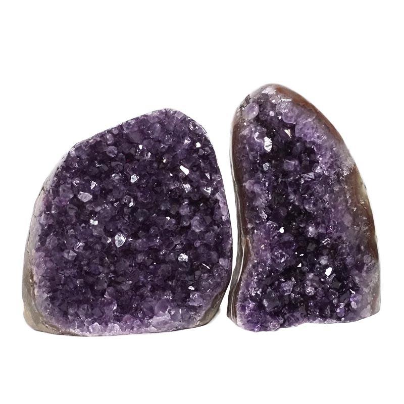 2.82kg Amethyst Polished Crystal Geode Specimen Set 2 Pieces DN174