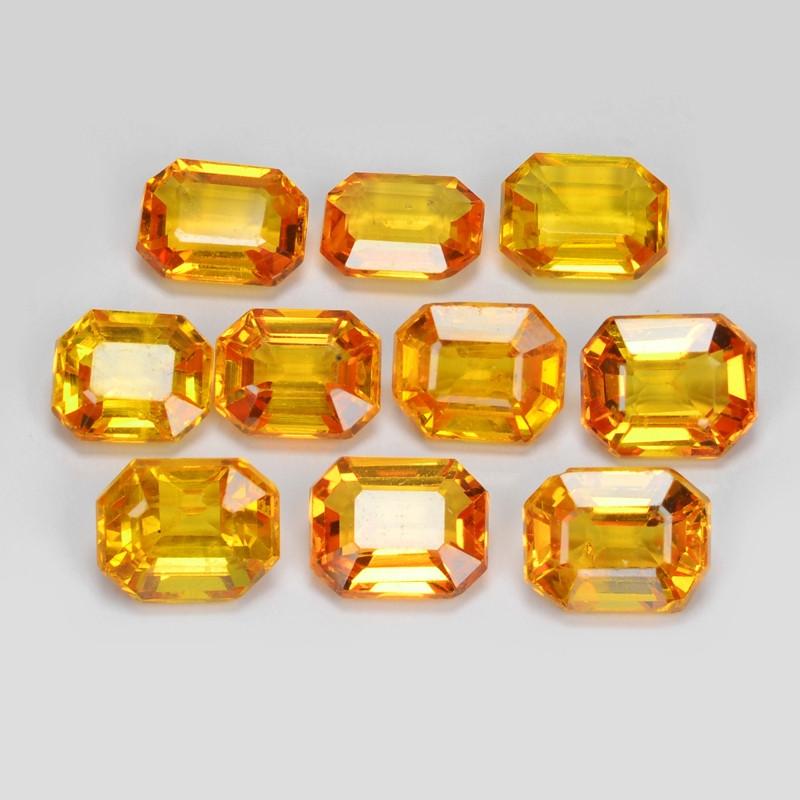 Sapphire 5.58 Carat 10pcs Natural Fancy Orange Red Color