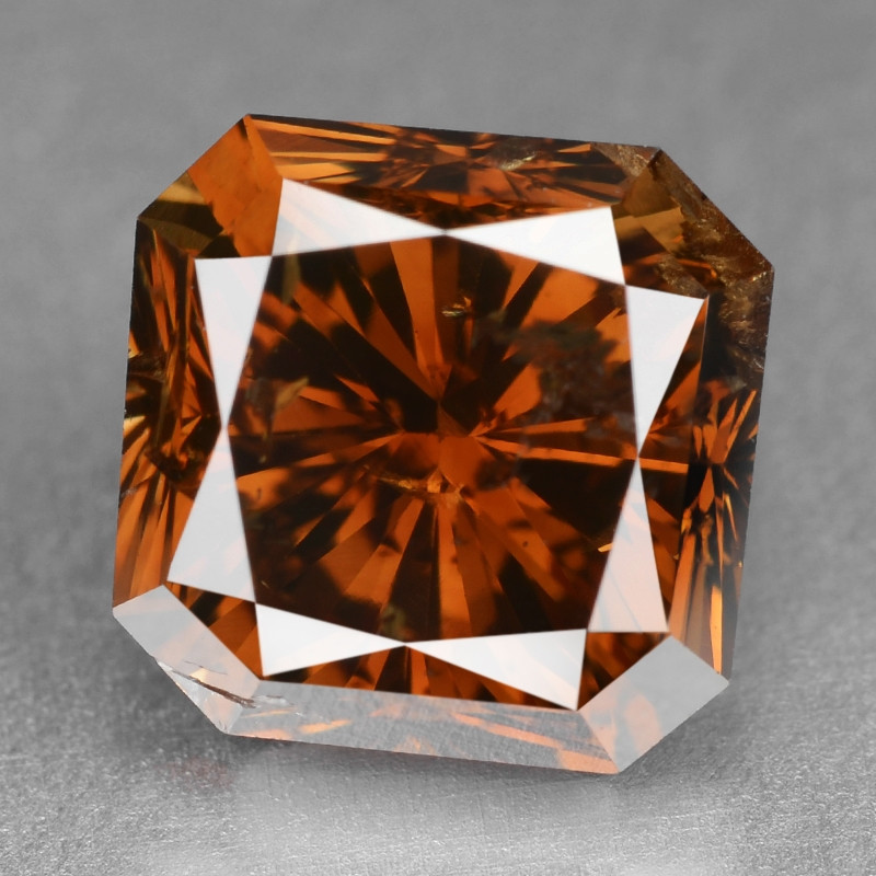 Diamond 2.53 Cts Sparkling Natural Fancy Deep Reddish Orange Color