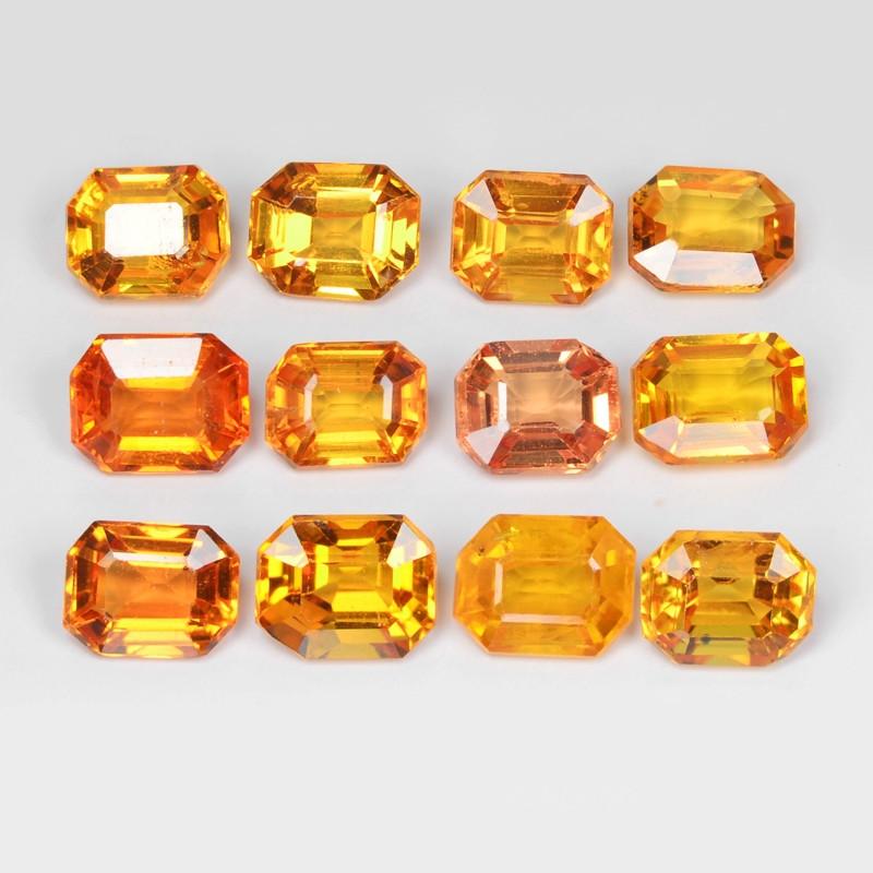 Sapphire 6.82 Carat 12pcs Natural Fancy Orange Red Color