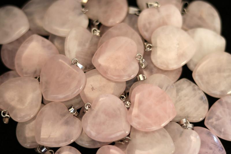 Wholesale 10 pcs Heart Rose Quartz Pendants Natural Rose Quartz AHA 917