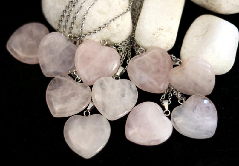 Wholesale 10 pcs Heart Rose Quartz Pendants Natural Rose Quartz AHA 918