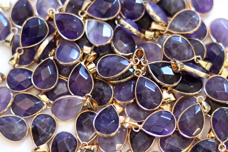 Wholesale 10 pcs Pear Shape Faceted Pendants Natural Amethyst G/P  AHA 923