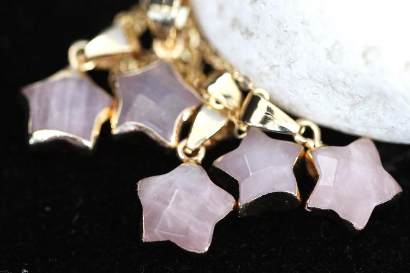 Wholesale 5 pcs Gold Plated Star Pendants Natural Rose Quartz AHA 932