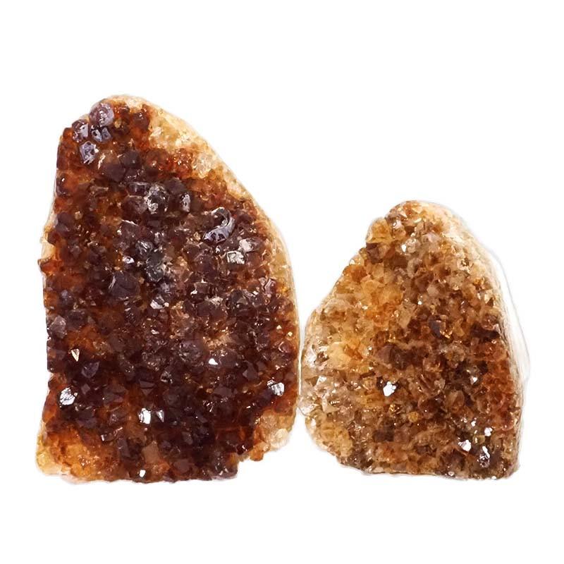 1.53kg Citrine Polished Crystal Geode Specimen Set 2 Pieces DN189