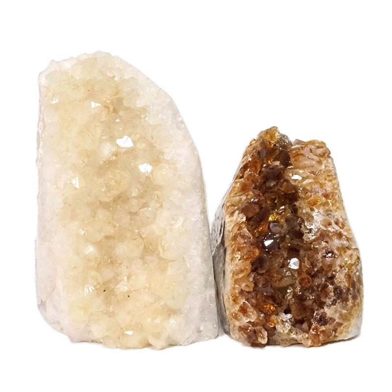 1.90kg Citrine Polished Crystal Geode Specimen Set 2 Pieces DN190