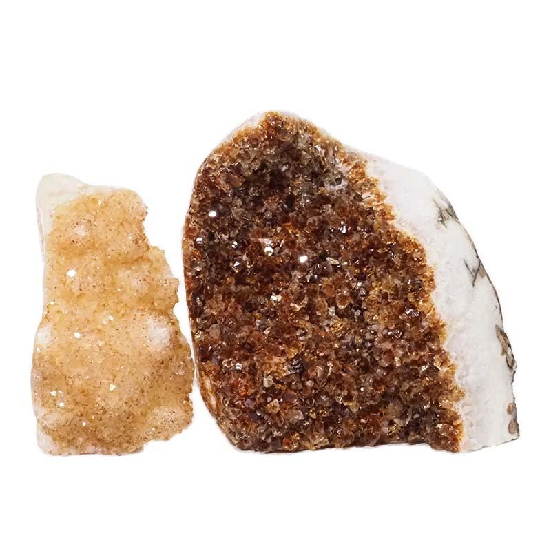 3.18kg Citrine Polished Crystal Geode Specimen Set 2 Pieces DN191