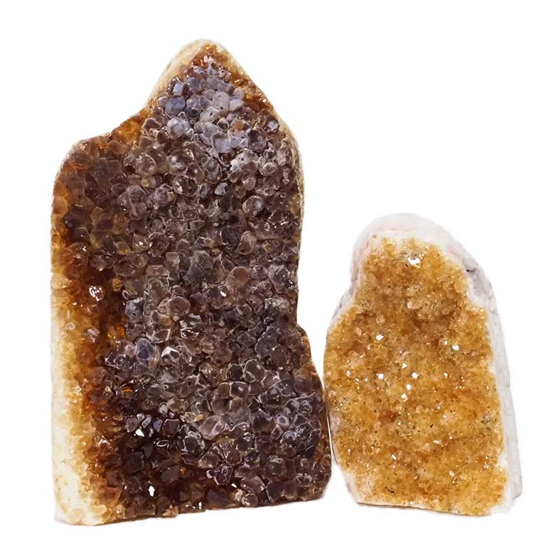 1.94kg Citrine Polished Crystal Geode Specimen Set 2 Pieces DN194