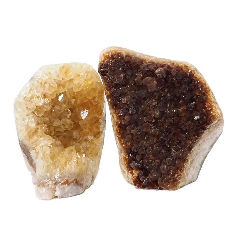1.88kg Citrine Polished Crystal Geode Specimen Set 2 Pieces DN196