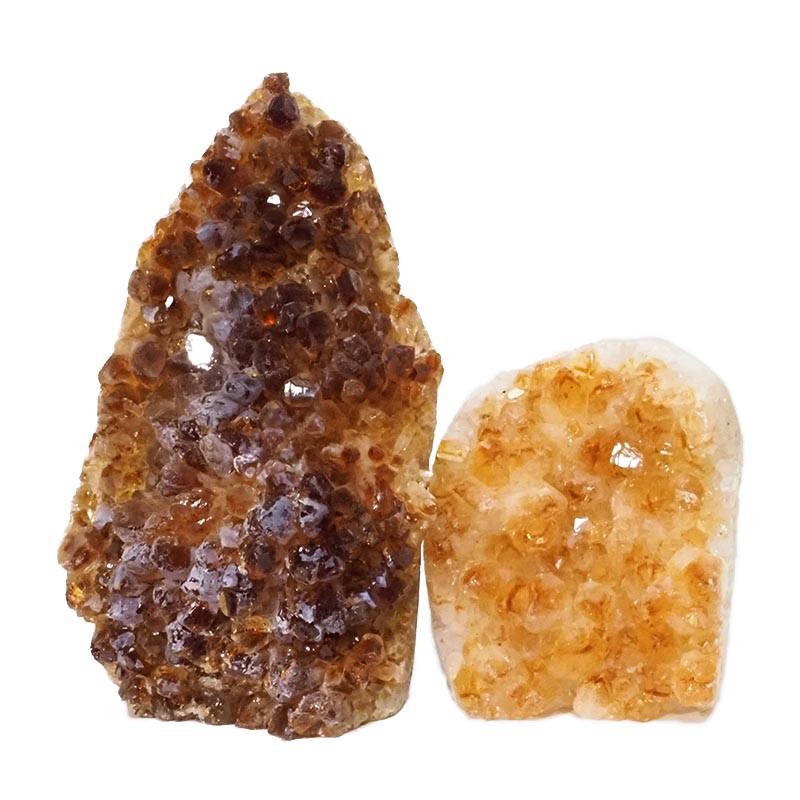 2.08kg Citrine Polished Crystal Geode Specimen Set 2 Pieces DN197