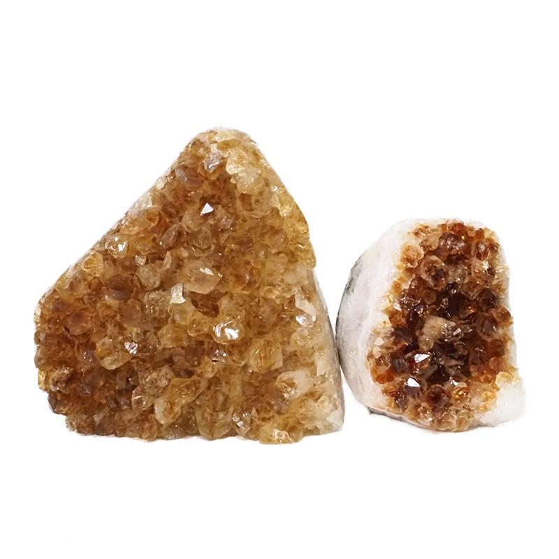 2.22kg Citrine Polished Crystal Geode Specimen Set 2 Pieces DN198
